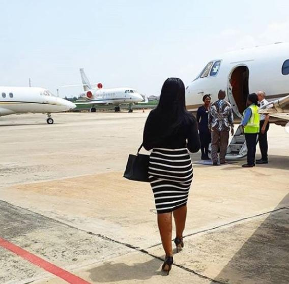 Linda ikeji and Dad fly in private jet