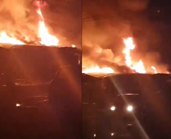 fire razes shops in Lagos