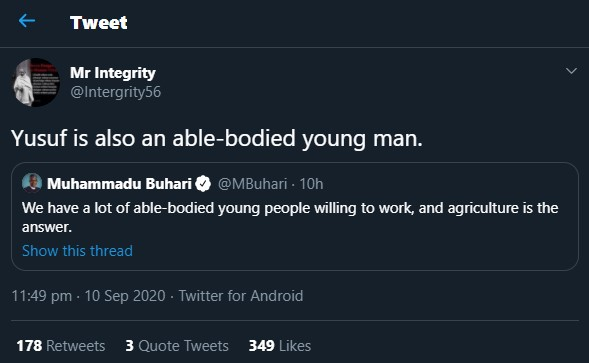 Twitter user replies Buhari