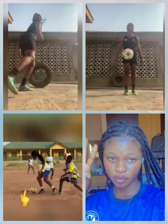 Female Footballer Shows Her Football Skills