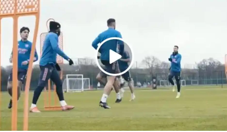 So Impressive: Watch How Saka, Tierney & rest of Team mate prepares for Benfica clash