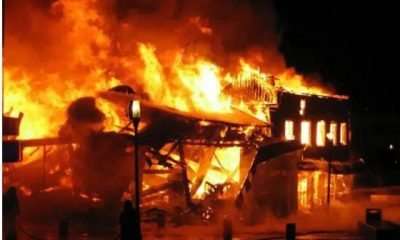 See Photos As Property Worth Millions Of Naira Destroyed As Fire Razes Spare Parts Market