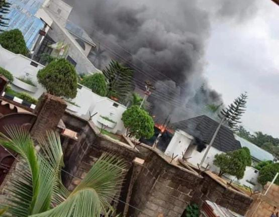 Watch Video As Gov. Uzodinma's House On Fire